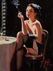 Performer's Break (Cigarette) by Fabian Perez -  sized 12x16 inches. Available from Whitewall Galleries
